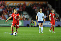 Jess Fishlock of Wales Women during the FIFA Women's World Cup Qualifier match between Wales and England at Rodney Parade on August 31, 2018 in Newport, Wales.