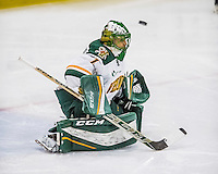 18 December 2016: University of Vermont Catamount Goaltender Mike Santaguida, a Senior from Mississauga, Ontario, has the puck get by for the game tying goal in the third period during a game against the Union College Dutchmen at Gutterson Fieldhouse in Burlington, Vermont. The Catamounts fell to their former ECAC hockey rivals 2-1, as the Dutchmen sweep the two-game weekend series. Mandatory Credit: Ed Wolfstein Photo *** RAW (NEF) Image File Available ***