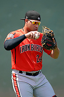 Catcher Christopher Burgess (24) of the Aberdeen IronBirds before a game against the Greenville Drive on Sunday, July 11, 2021, at Fluor Field at the West End in Greenville, South Carolina. (Tom Priddy/Four Seam Images)