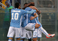 Calcio, Serie A: Lazio vs Udinese. Roma, stadio Olimpico, 13 settembre 2015.<br /> Lazio's Alessandro Matri, right, celebrates with teammates after scoring during the Italian Serie A football match between Lazio and Udinese at Rome's Olympic stadium, 13 September 2015.<br /> UPDATE IMAGES PRESS/Isabella Bonotto