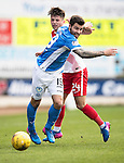 St Johnstone v Kilmarnock…25.02.17     SPFL    McDiarmid Park<br />Richoe Foster is fouled by Greg Taylor<br />Picture by Graeme Hart.<br />Copyright Perthshire Picture Agency<br />Tel: 01738 623350  Mobile: 07990 594431