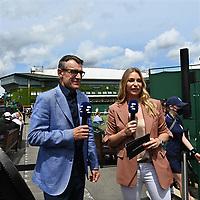 6th July 2021, Wimbledon, SW London, England; 2021 Wimbledon Championships  day 8;  Eurosport TV Team Barbara Schett and Mats WIlander