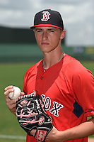 GCL Red Sox pitcher Michael Kopech (41) poses for a photo after a game against the GCL Rays on June 25, 2014 at JetBlue Park at Fenway South in Fort Myers, Florida.  GCL Red Sox defeated the GCL Rays 7-0.  (Mike Janes/Four Seam Images)