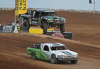 Mar. 19, 2011; Chandler, AZ, USA;  LOORRS pro two driver Jeremy McGrath and Jeff Geiser during round one at Firebird International Raceway. Mandatory Credit: Mark J. Rebilas-US PRESSWIRE