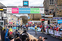 Picture by Alex Whitehead/SWpix.com - 29/04/2016 - Cycling - 2016 Tour de Yorkshire, Stage 1: Beverley to Settle - Yorkshire, England - Dylan Groenewegen of LottoNLJumbo Cycling celebrates winning Stage 1 in Settle.