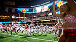 Alabama Crimson Tide head coach Nick Saban and his team take the field before the Allstate Sugar Bowl against Clemson at the Mercedes-Benz Superdome on January 1, 2018 in New Orleans. Photo by Mark Wallheiser/UPI