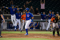 AZL Cubs right fielder Jonathan Sierra (22) scores on a triple by left fielder Nelson Velazquez (not pictured) against the AZL Giants on September 6, 2017 at Sloan Park in Mesa, Arizona. AZL Giants defeated the AZL Cubs 6-5 to even up the Arizona League Championship Series at one game a piece. (Zachary Lucy/Four Seam Images)