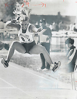 Championship form: Diane Jones, who won a gold medal for Canada in last year's Pan-American Games, demonstrates her long-jump form in the pentathlon competition during Olympic trials in Quebec city on the weekend.<br /> <br /> 1976<br /> <br /> PHOTO :  Dick Loeb - Toronto Star Archives - AQP
