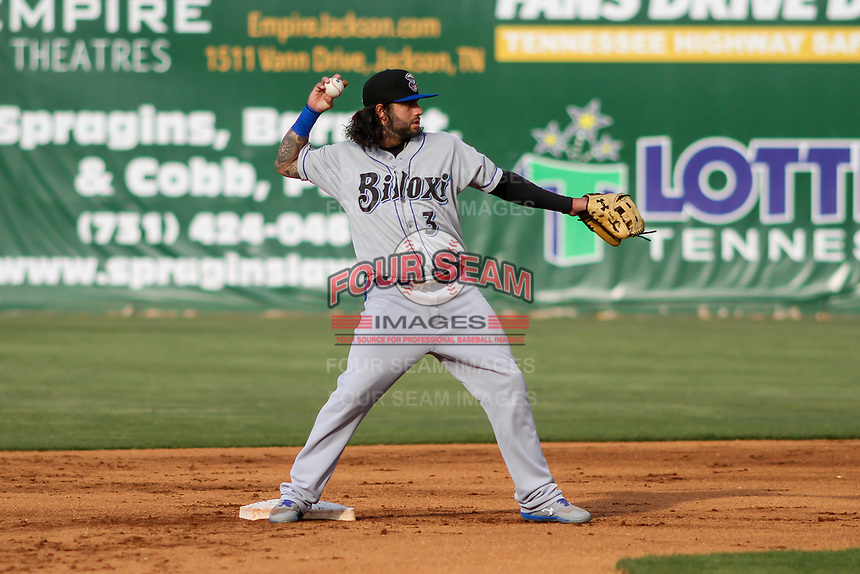 Biloxi Shuckers second baseman C.J. Hinojosa (3) makes a throw to first base between innings of a Southern League game against the Jackson Generals on June 14, 2019 at The Ballpark at Jackson in Jackson, Tennessee. Jackson defeated Biloxi 4-3. (Brad Krause/Four Seam Images)