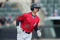 Mitch Roman (10) of the Kannapolis Intimidators hustles down the first base line during the game against the Hickory Crawdads at Kannapolis Intimidators Stadium on May 21, 2017 in Kannapolis, North Carolina.  The Intimidators defeated the Crawdads 9-8.  (Brian Westerholt/Four Seam Images)