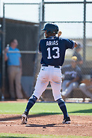 San Diego Padres shortstop Gabriel Arias (13) at bat during an Instructional League game against the Milwaukee Brewers at Peoria Sports Complex on September 21, 2018 in Peoria, Arizona. (Zachary Lucy/Four Seam Images)
