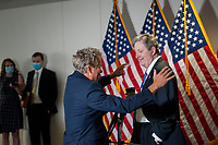 United States Senator Rand Paul (Republican of Kentucky), left, greets United States Senator John Neely Kennedy (Republican of Louisiana) as he arrives for the GOP luncheon in the Hart Senate Office Building on Capitol Hill in Washington, DC., Tuesday, June 16, 2020. <br /> Credit: Rod Lamkey / CNP/AdMedia