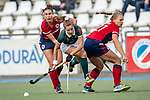 Mannheim, Germany, October 18: During the 1. Bundesliga women fieldhockey match between Mannheimer HC (red) and Uhlenhorst Muelheim (green) on October 18, 2020 at Am Neckarkanal in Mannheim, Germany. Final score 1-0 (HT 0-0). (Copyright Dirk Markgraf / www.265-images.com) *** Aina Lilly Kresken #13 of Uhlenhorst Muelheim, Florencia Habif #18 of Mannheimer HC