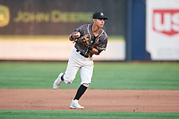 Quad Cities River Bandits second baseman Alfredo Angarita (2) during a game against the West Michigan Whitecaps on July 22, 2018 at Modern Woodmen Park in Davenport, Iowa.  West Michigan defeated Quad Cities 6-4.  (Mike Janes/Four Seam Images)
