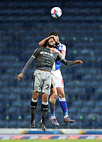 26th December 2020; Ewood Park, Blackburn, Lancashire, England; English Football League Championship Football, Blackburn Rovers versus Sheffield Wednesday; Isaiah Brown of Sheffield Wednesday competes for a header with Derrick Williams of Blackburn Rovers