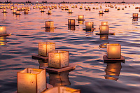 On Memorial Day, lanterns with candle-lit writing to remember and honor deceased loved ones float out to sea at the 15th Annual Lantern Floating Ceremony at Ala Moana Beach Park, Honolulu, O'ahu.