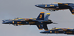 The Navy Blue Angels fly over the San Francisco Bay during Fleet Week 2012..