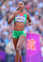 August 05, 2012: Vera Barbosa of POR competes in round one of women's 400m hurdles at the Olympic Stadium on day nine of 2012 Olympic Games in London, United Kingdom.