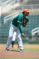 Greensboro Grasshoppers relief pitcher Jeremy Ovalle (29) looks to his catcher for the sign against the Kannapolis Intimidators at Kannapolis Intimidators Stadium on August 5, 2018 in Kannapolis, North Carolina. The Grasshoppers defeated the Intimidators 2-1 in game one of a double-header.  (Brian Westerholt/Four Seam Images)