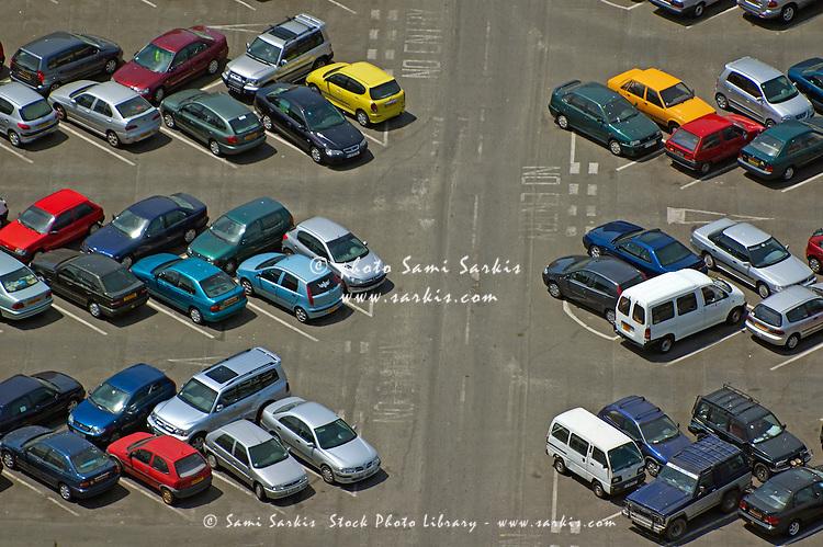 Crowded carpark full of cars, Gibraltar.