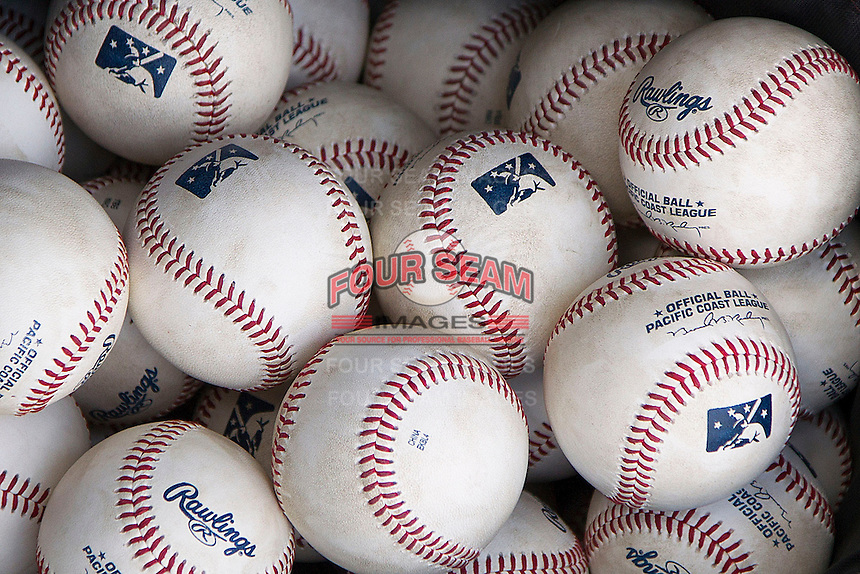 Pacific Coast League baseballs on April 21, 2013 at the Dell Diamond in Round Rock, Texas. Round Rock defeated New Orleans 7-1. (Andrew Woolley/Four Seam Images).