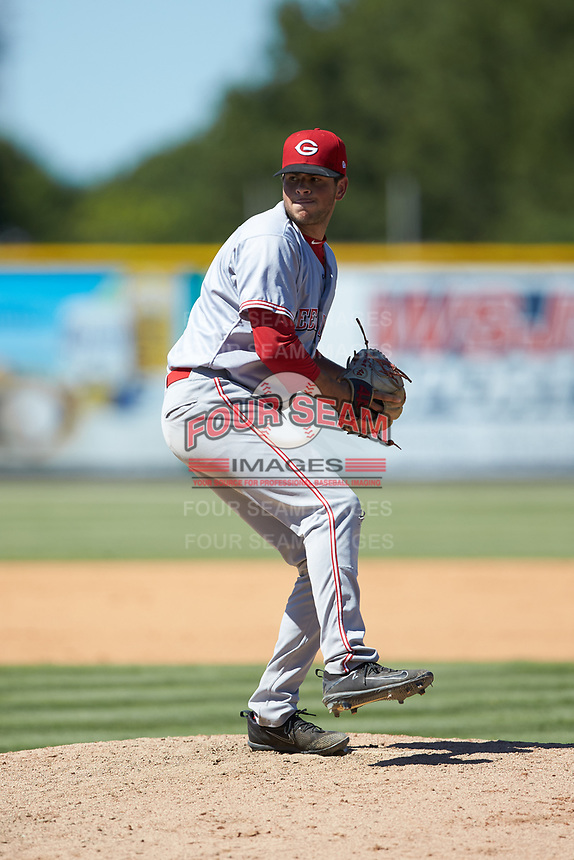 Greeneville Reds relief pitcher Jerry D'Andrea (35) in action against the Burlington Royals at Burlington Athletic Stadium on July 8, 2018 in Burlington, North Carolina. The Royals defeated the Reds 4-2.  (Brian Westerholt/Four Seam Images)