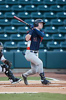 Grant Witherspoon (22) of the Bowling Green Hot Rods follows through on his swing against the Winston-Salem Dash at Truist Stadium on September 7, 2021 in Winston-Salem, North Carolina. (Brian Westerholt/Four Seam Images)