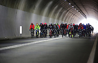 peloton passing through the highest point of the course: the Turchino tunnel (532m)<br /> <br /> 106th Milano - San Remo 2015
