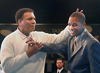 Miami Beach, FL 12-6 -2003<br /> Muhammad Ali with actor Will Smith in the ring at the Muhammad Ali book launch of Tashens' new 75 pound book, 'Goat' (Greatest of all time), at the historic site of Ali's 1964 triumph over Sonny Liston, the Miami Beach Convention Center. The event is part of the Art Basel international art show week in South Florida<br /> Photo by Adam Scull/PHOTOlink