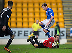 St Johnstone v Motherwell......27.10.13      SPFL<br /> Gunnar Nielsen takes the ball of Paddy Cregg's feet<br /> Picture by Graeme Hart.<br /> Copyright Perthshire Picture Agency<br /> Tel: 01738 623350  Mobile: 07990 594431