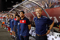 United States head coach Jurgen Klinsmann (R) before the start of the match. The men's national teams of the United States (USA) and Mexico (MEX) played to a 1-1 tie during an international friendly at Lincoln Financial Field in Philadelphia, PA, on August 10, 2011.