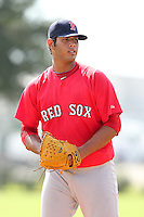 Boston Red Sox pitcher Luis Diaz #36 during an Instructional League game against the Minnesota Twins at Red Sox Minor League Training Complex in Fort Myers, Florida;  October 3, 2011.  (Mike Janes/Four Seam Images)