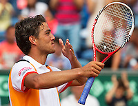 14-07-13, Netherlands, Scheveningen,  Mets, Tennis, Sport1 Open, day seven final, Jesse Huta Galung (NED) wins and throws a handkiss<br />