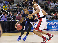 March 21st, 2013: California's Richard Solomon works his way into the paint during a game against UNLV at HP Pavilion, San Jose, California. California defeated UNLV 64 - 61
