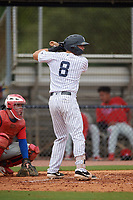 GCL Yankees East Alex Guerrero (8) bats during a Gulf Coast League game against the GCL Phillies West on July 26, 2019 at the New York Yankees Minor League Complex in Tampa, Florida.  (Mike Janes/Four Seam Images)