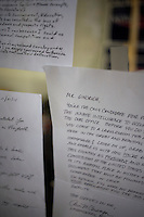Handwritten letters of support to Newt Gingrich hang in a window of the Newt Gingrich New Hampshire campaign headquarters in Manchester, New Hampshire, on Jan. 7, 2012. Gingrich is seeking the 2012 Republican presidential nomination.