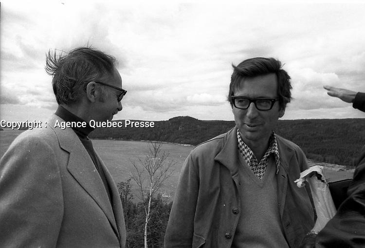 le Premier Ministre Liberal Robert Bourassa visite la Baie James, le 14 juillet 1973<br /> <br /> PHOTO D'ARCHIVE : Agence Quebec Presse - Alain Renaud
