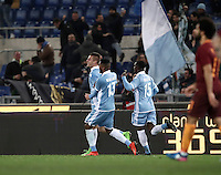 Calcio, Serie A: Roma, stadio Olimpico, 1marzo 2017.<br /> Lazio's Sergej Milinkovic (r) celebrates after scoring with his teammates Fortuna Dos Santos Wallace (c) and Jacinto Quissanga Bastos (r) during the Italian TIM Cup 1st leg semifinal football match between Lazio and AS Roma at Rome's Olympic stadium, on March 1, 2017.<br /> UPDATE IMAGES PRESS/Isabella Bonotto