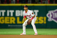 Rochester Red Wings shortstop Jecksson Flores (8) during a game against the Worcester Red Sox on September 3, 2021 at Frontier Field in Rochester, New York.  (Mike Janes/Four Seam Images)