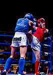 Ulziibayar Buyan-Orgil (Red) of Mongolia fights against Liu Hin Chung (Blue) of Hong Kong in the male muay 54KG division weight bout during the East Asian Muaythai Championships 2017 at the Queen Elizabeth Stadium on 11 August 2017, in Hong Kong, China. Photo by Yu Chun Christopher Wong / Power Sport Images