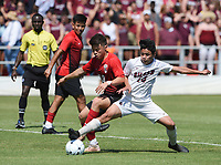 NWA Democrat-Gazette/CHARLIE KAIJO Russellville High School defender Justin Fuentes (10) and Siloam Springs High School midfielder Julio Maldonado (14) fight for possession during the Class 5A State Soccer Tournament championship, Friday, May 18, 2019 at Razorback Field in Fayetteville. Russellville High School defeated Siloam Springs 1-0