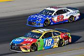 #18: Kyle Busch, Joe Gibbs Racing, Toyota Camry M&M's Toyota Camry and #52: B.J. McLeod, Rick Ware Racing, Chevrolet Camaro Clover