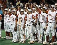 Texas celebrate the win against Texas A&M on May 16th, 2008 in Austin Texas. Photo by Andrew Woolley / Four Seam Images.