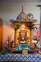 India, Dehradun.  A Representation of Shiva made from Rudraksh Seeds, Tapkeshwar Hindu Temple.