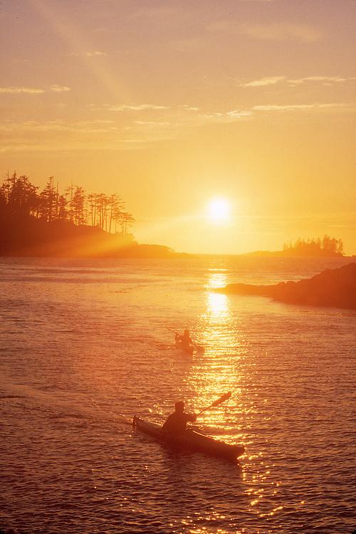 Sea kayakers, Vargas Island, Clayoquot Sound, West coast Vancouver Island, British Columbia, Canada