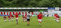 Belgian players pictured during the warm up before a friendly female soccer game between the national teams of Luxemburg and Belgium , called the Red Flames  in a preparation towards the qualification for the  FIFA Women's World Cup , on saturday 12 th of June 2021  in Wiltz , Luxemburg . PHOTO SPORTPIX BE   SPP   SEVIL OKTEM