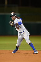 Peoria Javelinas infielder Orlando Calixte (8), of the Kansas City Royals organization, during an Arizona Fall League game against the Mesa Solar Sox on October 18, 2013 at HoHoKam Park in Mesa, Arizona.  Mesa defeated Peoria 6-1.  (Mike Janes/Four Seam Images)