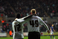 ATTENTION SPORTS PICTURE DESK<br /> Pictured: Nathan Dyer (L) and David Cotterill (R) of Swansea City <br /> Re: Coca Cola Championship, Swansea City Football Club v Leicester City at the Liberty Stadium, Swansea, south Wales. Saturday 16 January 2010