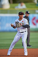 Wilfredo Tovar (1) of the Salt Lake Bees during the game against the Tacoma Rainiers at Smith's Ballpark on May 27, 2019 in Salt Lake City, Utah. The Bees defeated the Rainiers 5-0. (Stephen Smith/Four Seam Images)