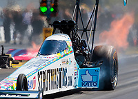 Sep 5, 2020; Clermont, Indiana, United States; NHRA top fuel driver Justin Ashley during qualifying for the US Nationals at Lucas Oil Raceway. Mandatory Credit: Mark J. Rebilas-USA TODAY Sports